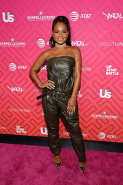 Christina Milian went bold in a strapless dark-olive leather jumpsuit by Unravel for Us Weekly's Most Stylish New Yorkers 2016.