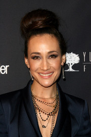 Maggie Q got majorly retro with this huge beehive bun at the Weinstein's Golden Globes party.