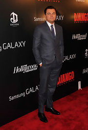 Leonardo DiCaprio cut a dashing figure in his gray suit during the screening of 'Django Unchained.'