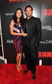 Jessica Lucas Looked Radiant in a red, white, and blue print dress with a cut-out neckline at the screening of 'Django Unchained.'