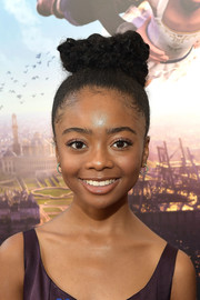 Skai Jackson fixed her hair into a braided top bun for the premiere of 'Leap!'