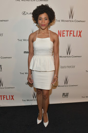 Kelly McCreary went the sweet and feminine route in a white spaghetti-strap peplum dress for the Weinstein Company and Netflix Golden Globes party.