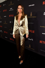 Louise Roe's Tamara Mellon lamé pantsuit at the Weinstein Company and Netflix Golden Globe party was a glam way to suit up!