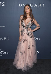 Nicole Scherzinger enchanted in a pink Yanina Couture gown with delicate black embroidery during the Weinstein Company pre-Oscar dinner.