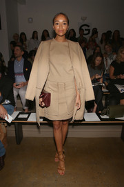 Ashley Madekwe teamed her skirt suit with stylish tan gladiator heels.