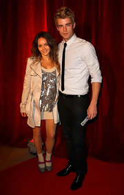 Rebecca Breeds' red and gray platform Mary Janes finished off her look in fun style.