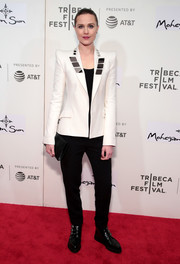 Evan Rachel Wood donned a white Mugler blazer with metal plate-embellished lapels for the Tribeca Film Festival premiere of 'Westworld.'