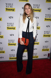 Dree Hemingway went for an androgynous vibe at the NY premiere of 'While We're Young' in a long-sleeve tie-neck shirt by Chloe.