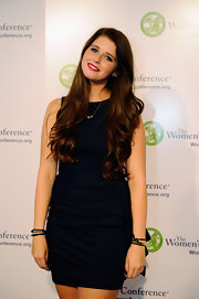 Katherine Schwarzenegger gave her classic LBD an earthy feel with several leather bracelets on her left wrist.