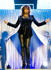 Whitney Houston stepped on stage in her sequined jacket and leather pants.