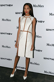 Jourdan Dunn kept her look cool and mod looking with a white frock that featured cool geometric cutouts.
