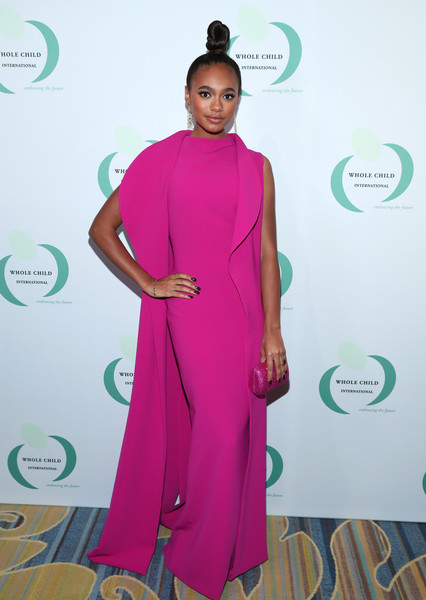 Chandler Kinney glammed it up in a floor-length fuchsia coat and a matching column dress at the Whole Child International's Inaugural Gala.