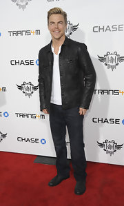 Derek Hough rocked out at I.Am.Angel benefit concert in a black bomber jacket.