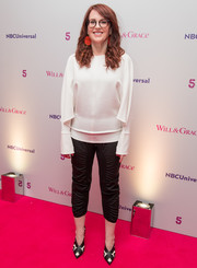 Megan Mullally looked simply chic in a loose white blouse at the 'Will & Grace' BAFTA screening.