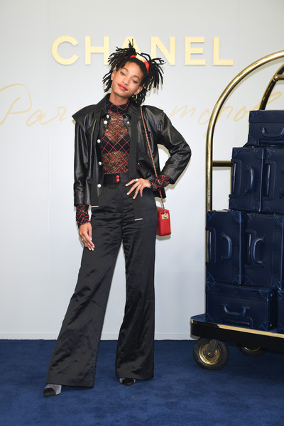 Willow Smith Leather Jacket [fashion,fashion design,costume,denim,performance,willow smith,photocall,chanel metiers dart collection paris cosmopolite,tokyo,japan,tsunamachi mitsui club,show]