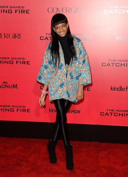 Willow Smith Leggings [the hunger games: catching fire,flooring,carpet,outerwear,fashion,red carpet,costume,fashion design,arrivals,willow smith,california,los angeles,nokia theatre l.a. live,lionsgate,premiere]
