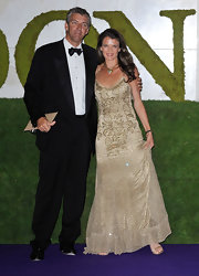 Annabel Croft was all dolled up in a gold spaghetti-strap beaded gown for the Wimbledon Winners Party.
