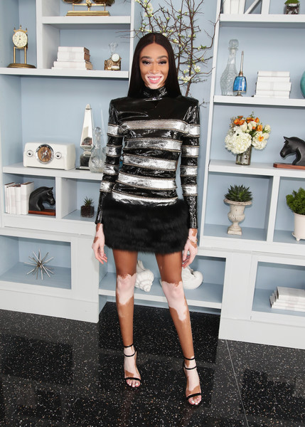 Winnie Harlow Leather Dress