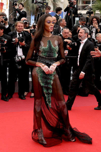 Winnie Harlow Sheer Dress [red carpet,carpet,flooring,premiere,event,dress,fashion,gown,long hair,fashion model,une lumiere,winnie harlow,screening,une lumiere,roubaix,cannes,france,oh mercy,red carpet,the 72nd annual cannes film festival]