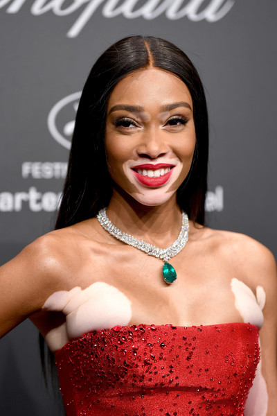 Winnie Harlow Long Straight Cut [hair,lip,eyebrow,hairstyle,skin,beauty,lady,chin,eyelash,fashion,caroline scheufele,winnie harlow,rihanna,chopard space party - photocall,cannes,france,port canto,chopard space party,chopard,cannes film festival]