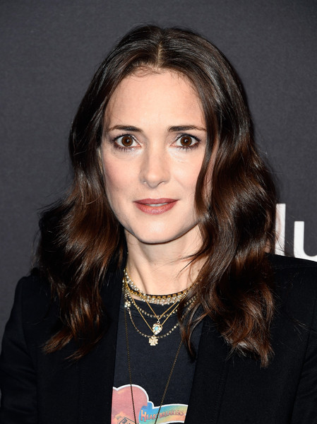 Winona Ryder Long Wavy Cut [stranger things,hair,face,hairstyle,eyebrow,beauty,lip,chin,cheek,long hair,layered hair,winona ryder,los angeles,dolby theatre,california,hollywood,paley center for media,paleyfest]