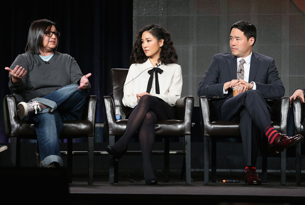 More Pics of Constance Wu Pussybow Blouse (2 of 23) - Tops Lookbook - StyleBistro [nahnatchka khan,writer,actors,randall park,l-r,panel,portion,fresh off the boat,event,performance,conversation,talent show,drama,winter tca tour,press tour]
