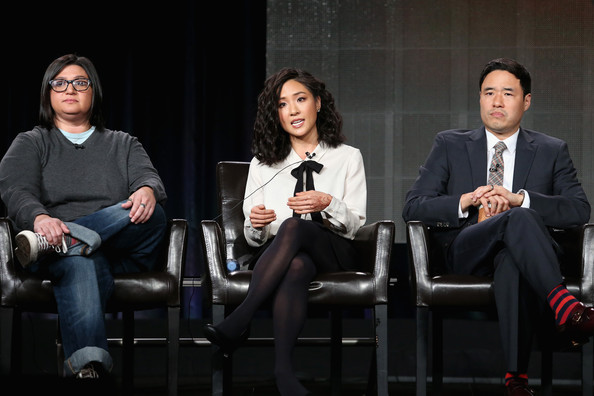 More Pics of Constance Wu Pussybow Blouse (3 of 23) - Tops Lookbook - StyleBistro [nahnatchka khan,writer,actors,randall park,l-r,panel,portion,fresh off the boat,event,design,conversation,sitting,performance,winter tca tour,press tour]