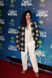 Camila Alves kept it casual in a pair of baggy white slacks.