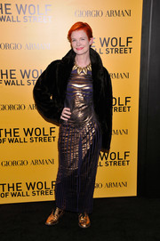 Sandy Powell attended the 'Wolf of Wall Street' premiere looking luxe in a black fur coat.