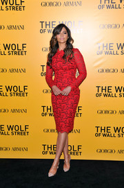 Camila Alves looked dreamy in her red-hot lace Dolce & Gabbana cocktail dress during the NYC premiere of 'The Wolf of Wall Street.'