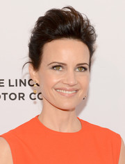 Carla Gugino attended the Tribeca Film Fest premiere of 'Wolves' rocking an anime-inspired updo.
