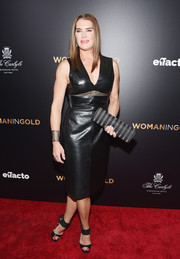 Brooke Shields channeled her inner glamazon in a black sheer-panel leather dress during the 'Woman in Gold' premiere.