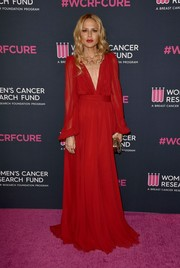 Rachel Zoe oozed elegance wearing this red V-neck gown at the 2020 Unforgettable Evening Gala.