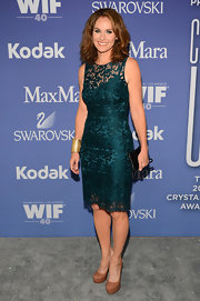 Amy Brenneman sported a rich teal lace dress at the Lucy + Crystal Awards.