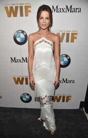 Kate Beckinsale looked downright divine in a fringed white halter gown by Vatanika at the 2016 Crystal + Lucy Awards.