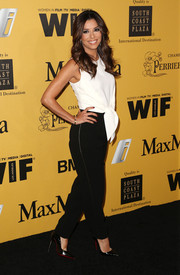 Eva Longoria donned a playful-meets-sophisticated black-and-white jumpsuit by Max Mara for the Crystal + Lucy Awards.