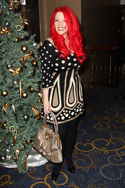 Jane Goldman carried a vintage-looking taupe tote to the Women in Film and TV awards.