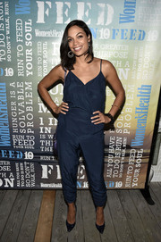 Rosario Dawson opted for a simple yet trendy navy silk jumpsuit by Parker when she attended Women's Health's Party Under the Stars.