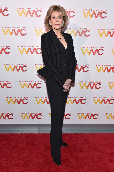 Jane Fonda looked refined in an embellished black pantsuit at the 2017 Women's Media Awards.
