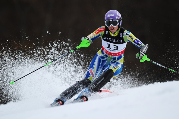 Tina Maze kept her eye on the fall line while wearing these white ski goggles.