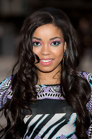 Dionne Bromfield wore bright pink and green eye makeup at the Women For Women International Gala.