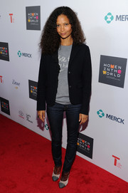 Thandie Newton kept it low-key in a ruffle-embellished black blazer layered over a T-shirt at the Women in World Summit.