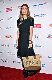 Lauren Bush chose a gray shirtdress with a Peter Pan-style collar and a full skirt for her look at the Women in the World Summit in NYC.