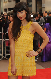 Jameela was a vision of sartorial perfection in this sunny yellow crochet dress.