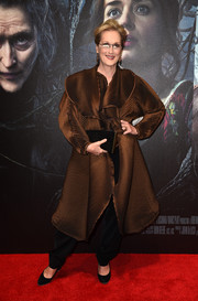 Meryl Streep struck a pose on the 'Into the Woods' screening red carpet wearing an architectural ribbed brown coat.