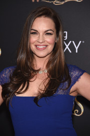 Tammy Blanchard attended the 'Into the Woods' premiere wearing a hairstyle that was sleek at the top and flippy down the ends.