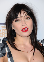Daisy Lowe wore her signature long straight cut with wispy bangs at the World's First Fabulous Fund Fair.