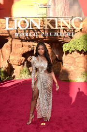 Normani Kordei Hamilton sealed off her look with gold ankle-strap sandals.