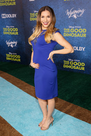 Allison Holker showed off her baby bump in an embellished royal-blue maternity dress while attending the world premiere of 'The Good Dinosaur.'