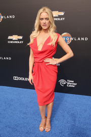 Peta Murgatroyd looked sultry in a red cowl-neck dress during the world premiere of 'Tomorrowland.'